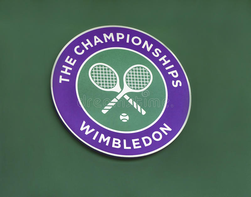 The emblem of Wimbledon tournament stock photos