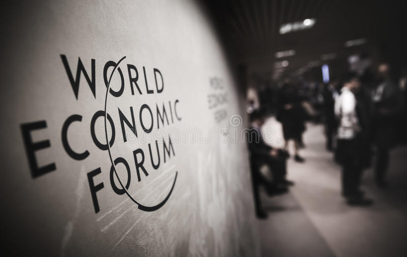 Emblem of the World Economic Forum in Davos royalty free stock photo