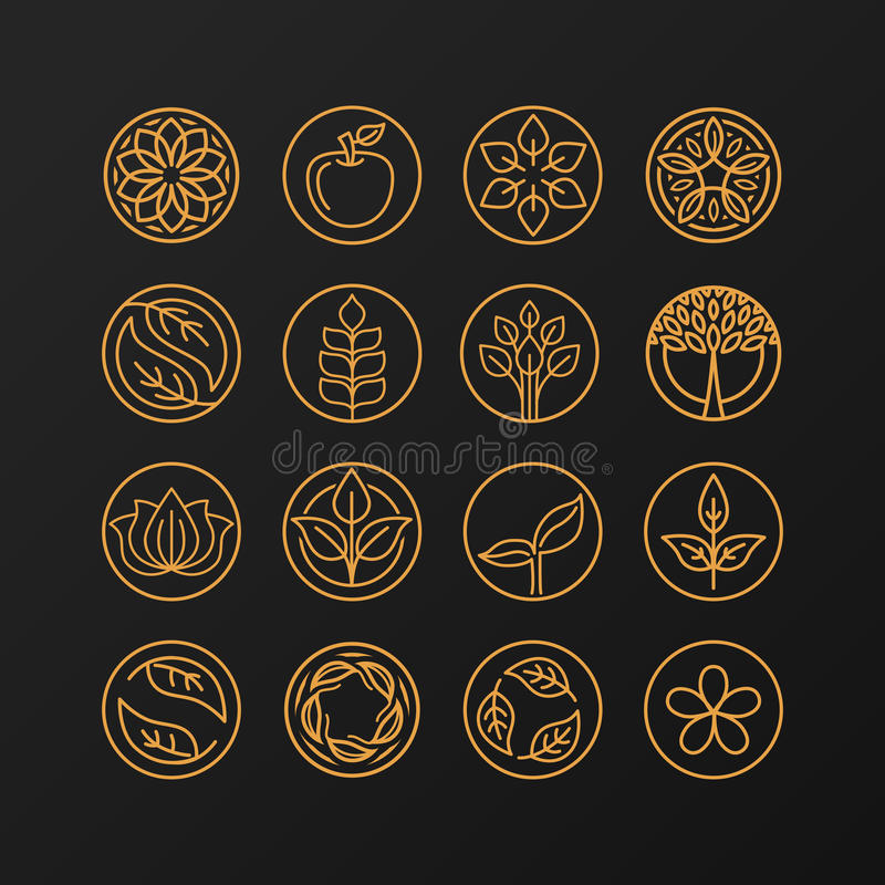 Emblema abstracto del vector - símbolos de la naturaleza stock de ilustración