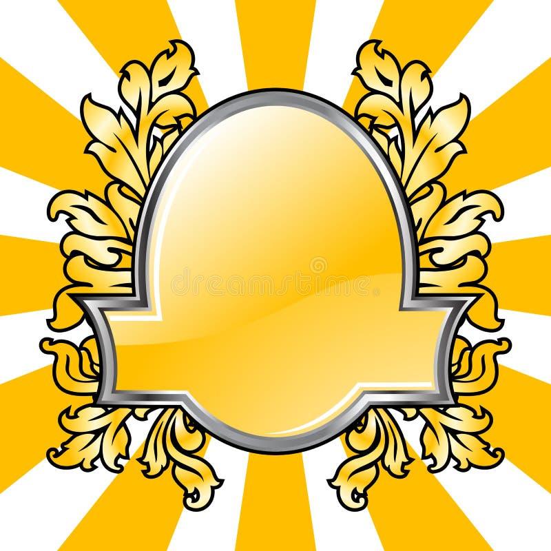 Emblema abstrato com elementos florais no vecto do blackground do grunge ilustração royalty free
