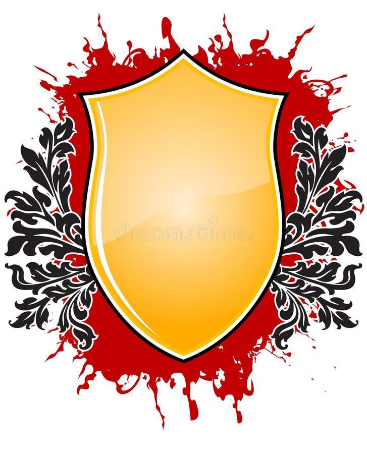 Emblema abstrato com os floralelements no vetor do blackground do grunge ilustração do vetor