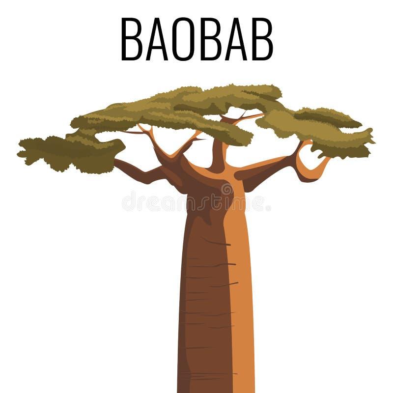 Emblema africano del icono del árbol del baobab con el texto aislado en blanco stock de ilustración