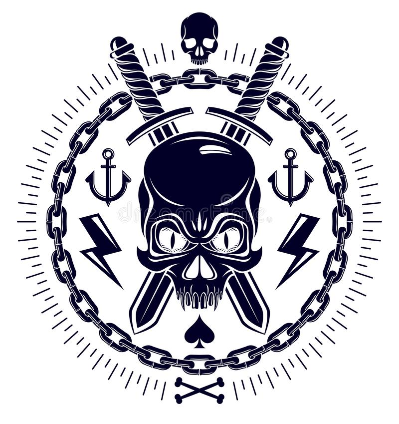 Emblema agresivo Jolly Roger del pirata del cr?neo con las armas y otros elementos del dise?o ilustración del vector
