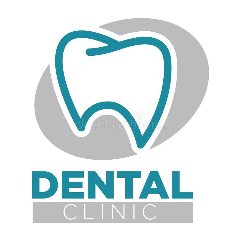 Emblema aislado diente dental de la medicina de la odontología de la clínica ilustración del vector