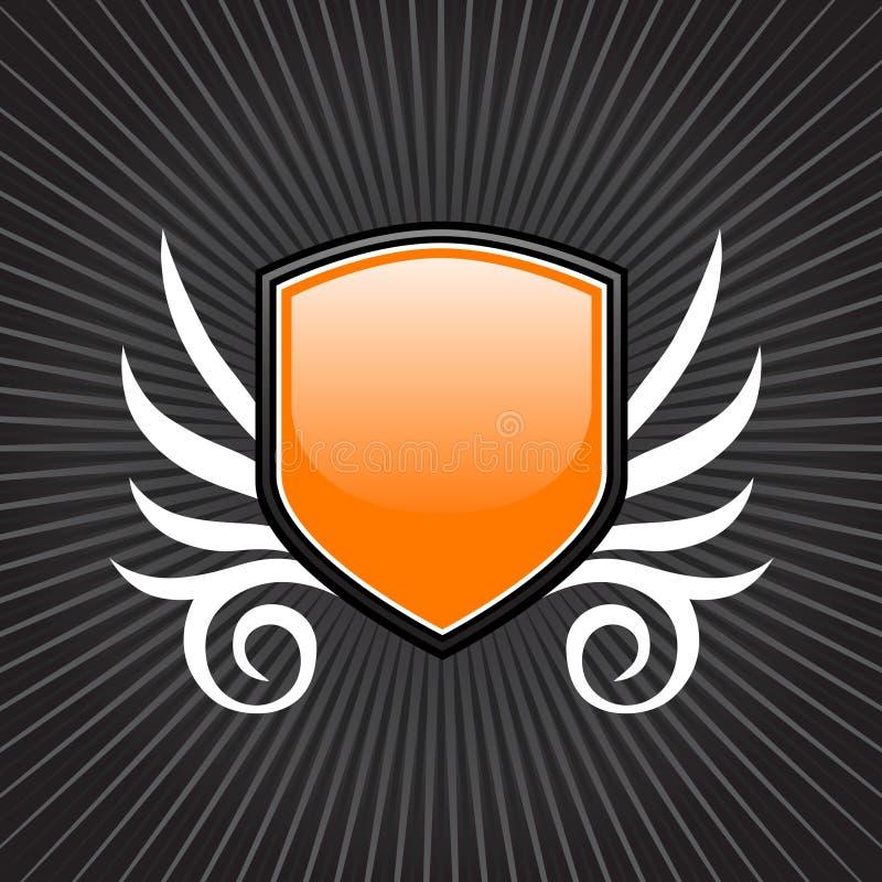 Emblema alaranjado lustroso do protetor ilustração royalty free
