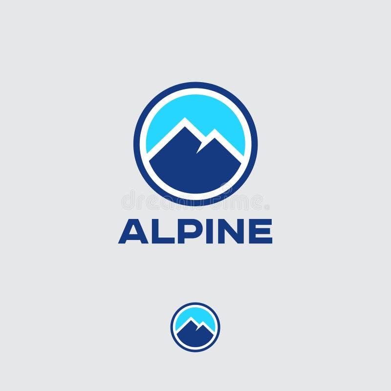 Emblema alpino Logotipo redondo de la montaña Símbolo los deportiva de instalaciones Picos de montaña azules ilustración del vector