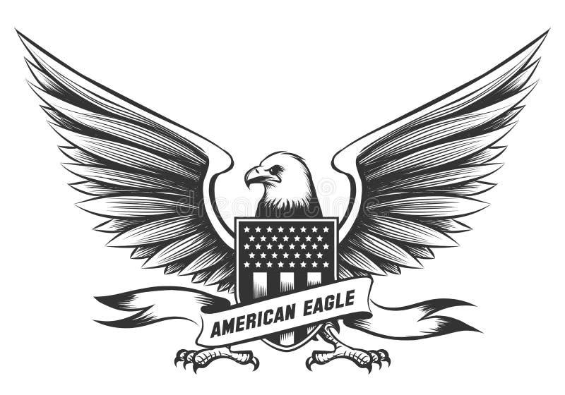 Emblema americano dell'aquila calva illustrazione vettoriale