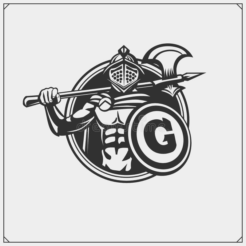 Emblema antigo do guerreiro gladiator Projeto da c?pia para o t-shirt ilustração do vetor