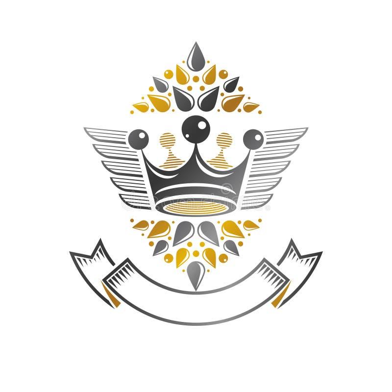 Emblema antiguo de la corona Elemento heráldico del diseño del vector Styl retro ilustración del vector