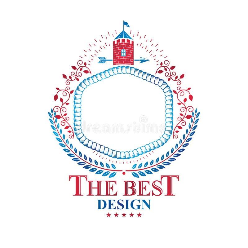 Emblema antiguo de la fortaleza Brazos heráldicos, logotipo del vector del vintage creado usando torre histórica y cinta decorati ilustración del vector