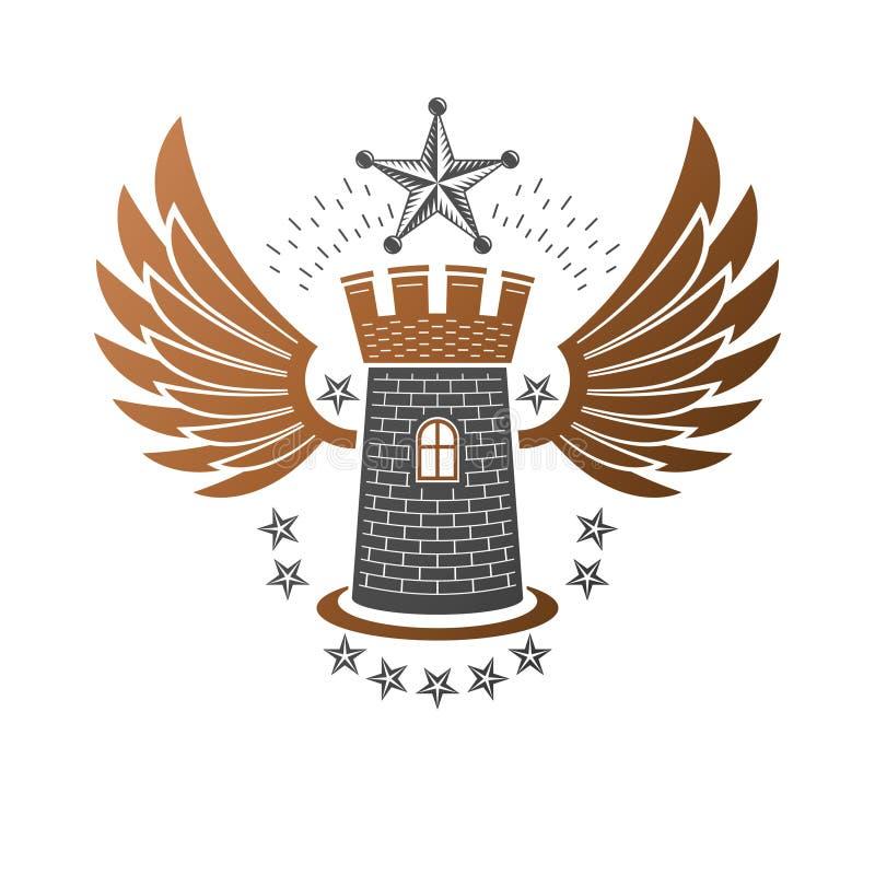 Emblema antiguo de la fortaleza Escudo de armas her?ldico, logotipo del vector del vintage Logotipo retro en viejo estilo en aisl stock de ilustración