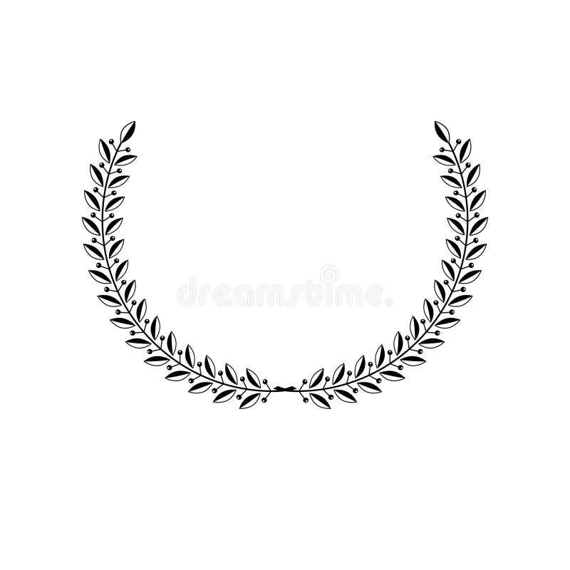 Emblema antiguo floral de Laurel Wreath Elem heráldico del diseño del vector ilustración del vector
