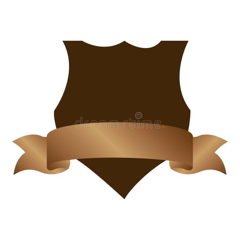 emblema araldico con l'etichetta ed il fondo marrone royalty illustrazione gratis