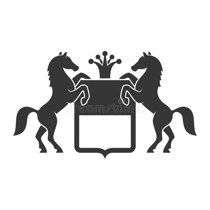 Emblema araldico d'annata con i cavalli Vettore royalty illustrazione gratis