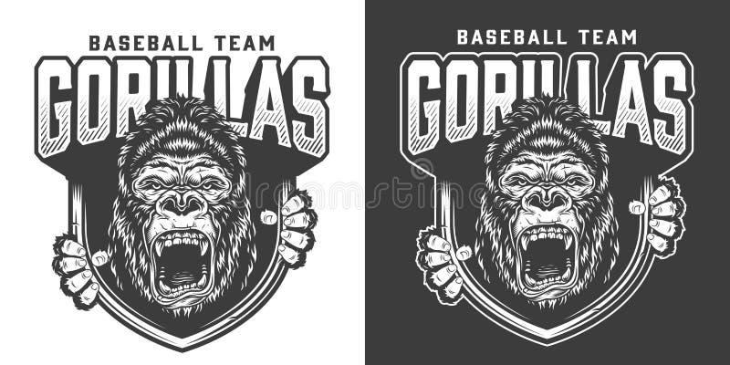 Emblema arrabbiato della mascotte della gorilla della squadra di baseball illustrazione di stock