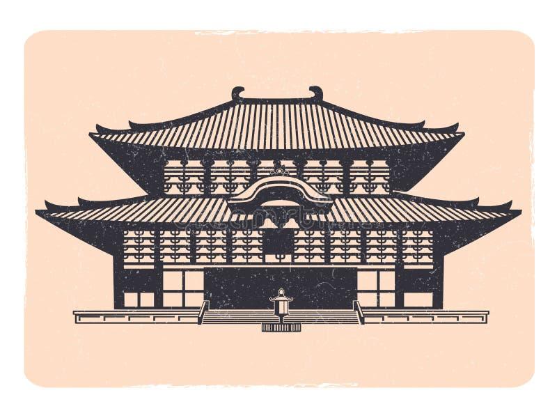 Emblema asiático de la casa de la tradición del vintage - emblema de oriental del grunge stock de ilustración