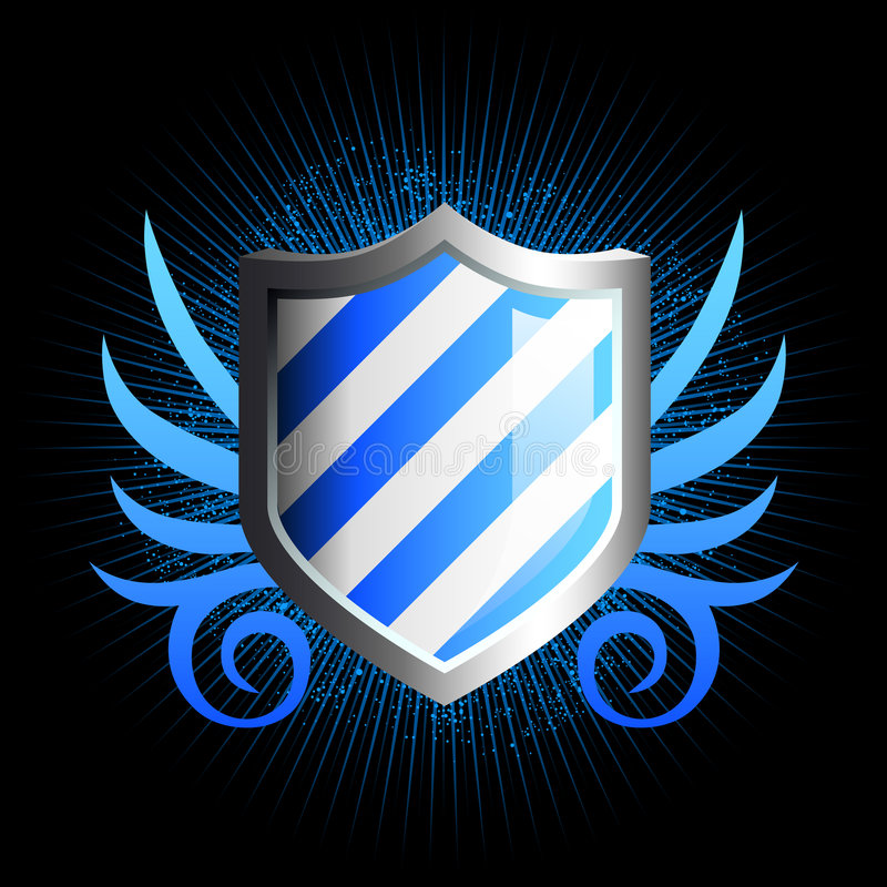 Emblema azul brillante del blindaje libre illustration