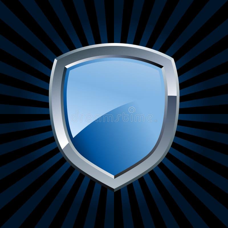 Emblema azul brillante del blindaje stock de ilustración