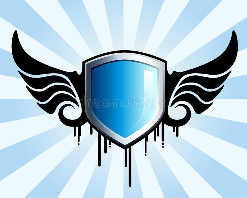 Emblema azul del blindaje stock de ilustración