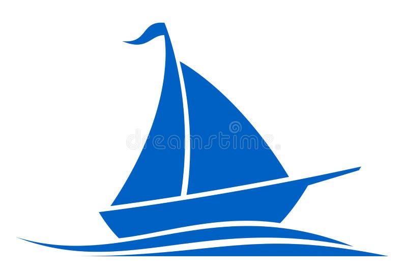 Emblema azul do navio em ondas ilustração do vetor