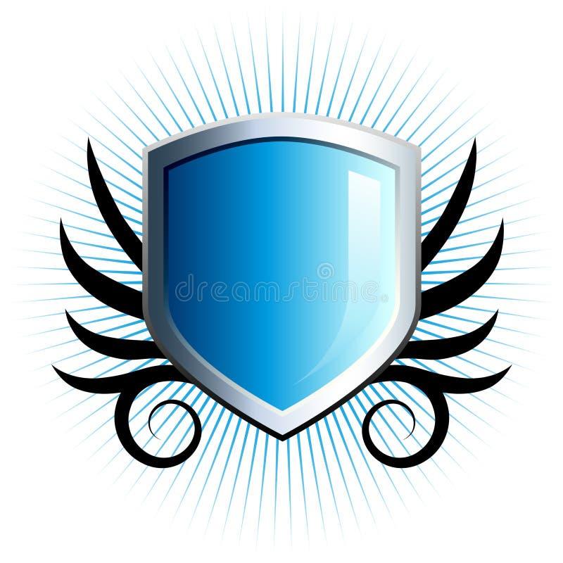 Emblema azul lustroso do protetor ilustração stock