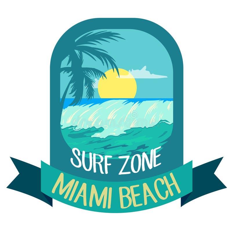 Emblema azul para el tema que practica surf de Miami Beach Ejemplo del vector con las olas oceánicas y las palmas ilustración del vector