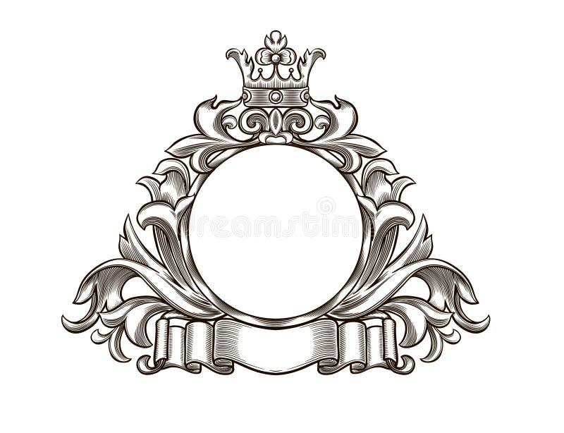 Emblema in bianco e nero illustrazione vettoriale