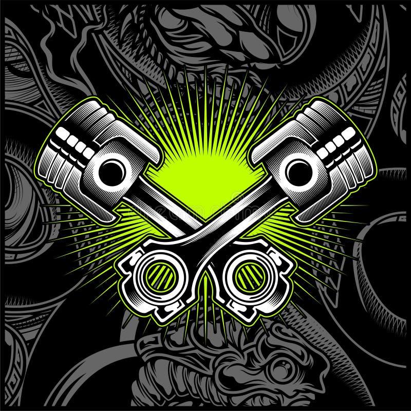Emblema in bianco e nero del pistone trasversale del motociclo, logos, distintivo - vettore royalty illustrazione gratis