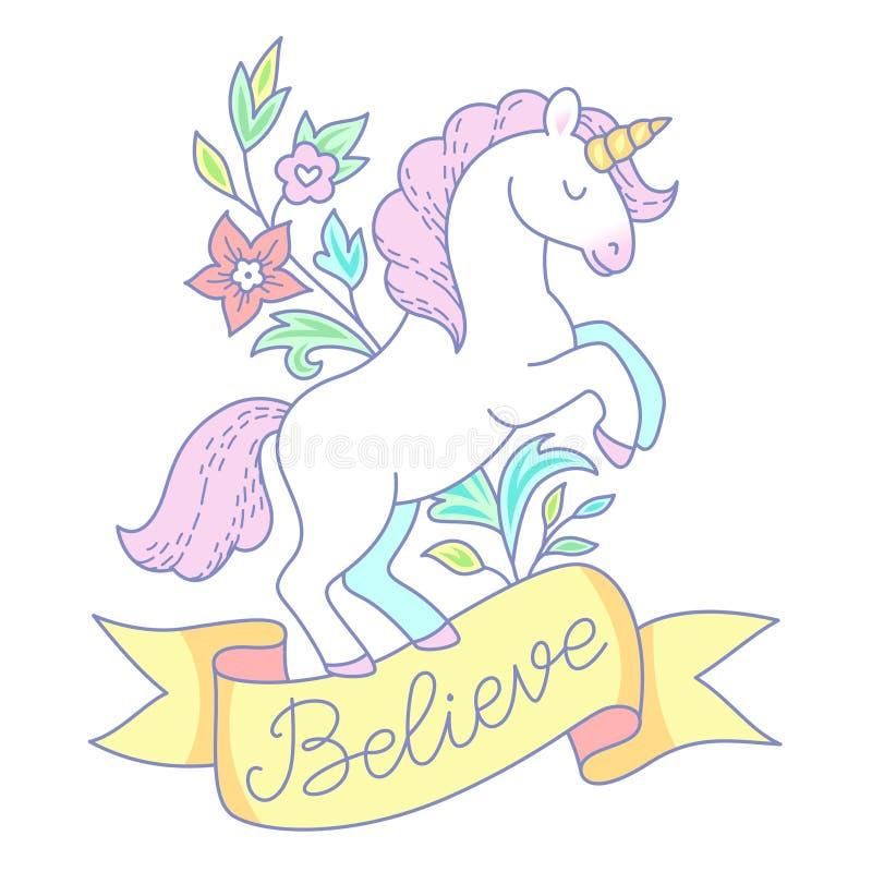 Emblema blanco del unicornio libre illustration