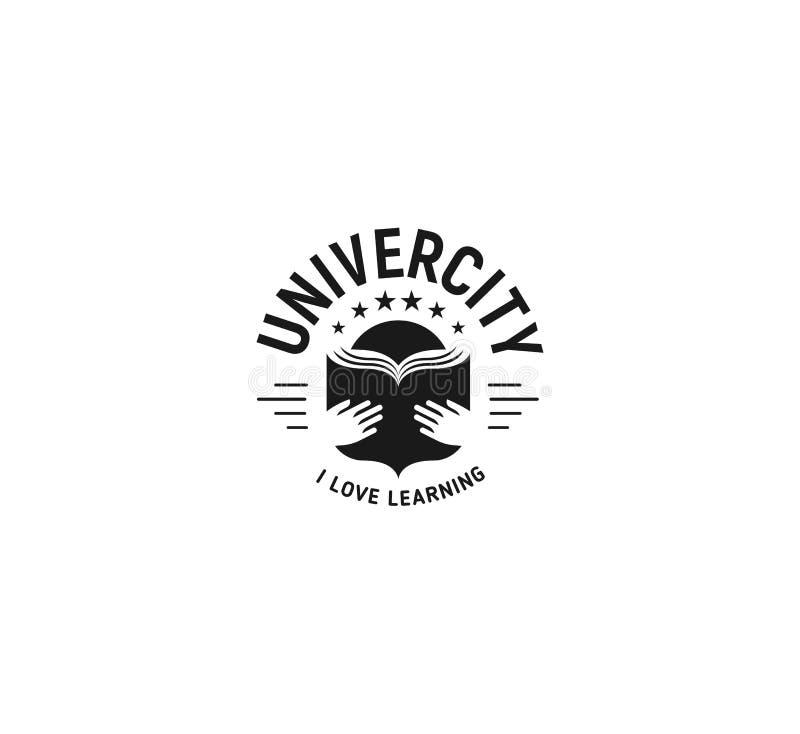 Emblema blanco y negro de la educación en el fondo blanco, logotipo del vector de la escuela, muestra monocromática del vintage U stock de ilustración