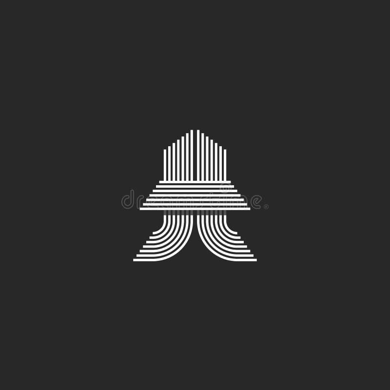 Emblema blanco y negro de la idea creativa de las iniciales del monograma de la letra del tt del logotipo, elemento del diseño de libre illustration