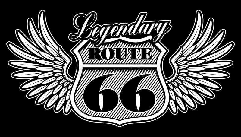 Emblema blanco y negro del vintage de la ruta 66 con las alas libre illustration
