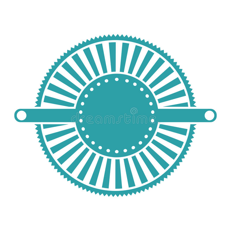 Emblema blu di deco di astrattismo dell'etichetta illustrazione di stock