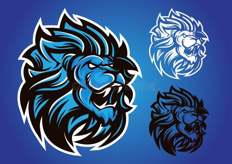 Emblema blu di vettore di logo del leone fotografia stock libera da diritti