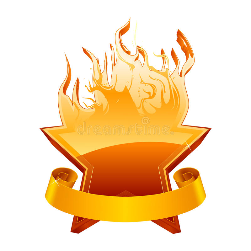 Emblema Burning Della Stella Fotografia Stock