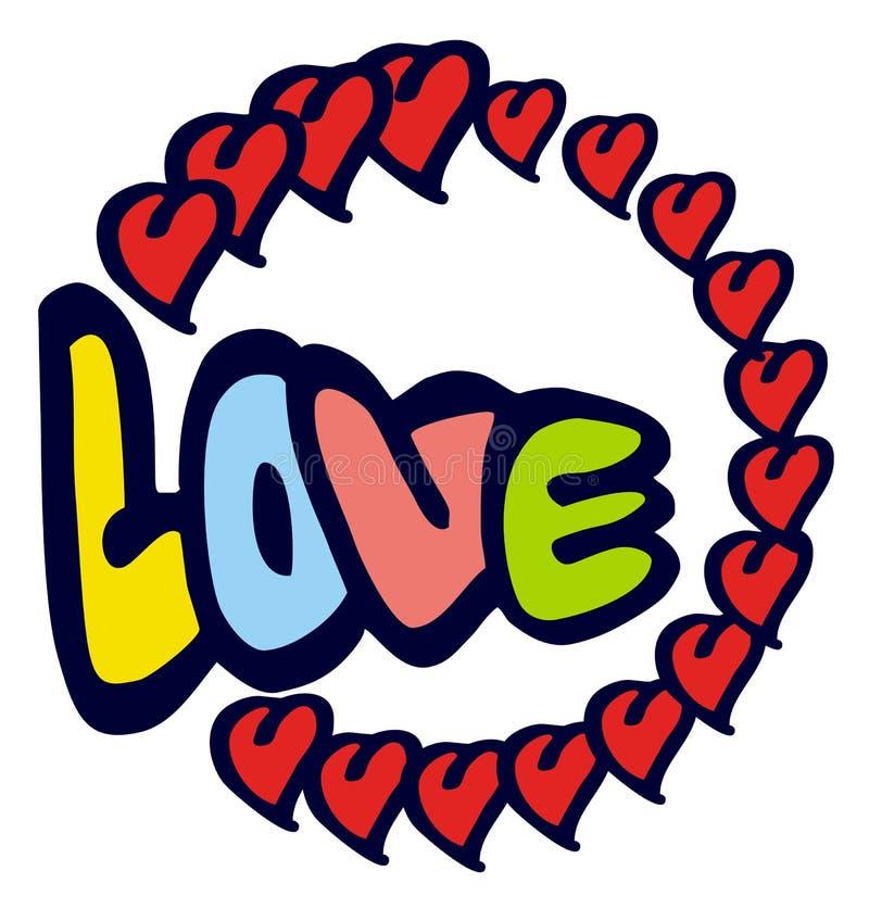 Emblema cômico com palavra & x22; love& x22; ilustração stock