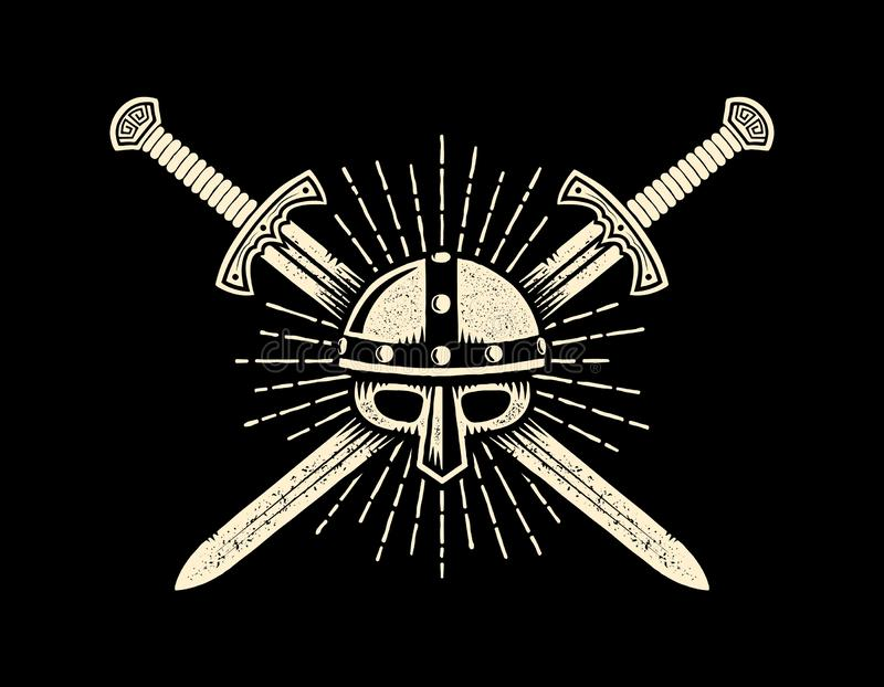 Emblema caballeresco medieval con el casco y las espadas cruzadas stock de ilustración