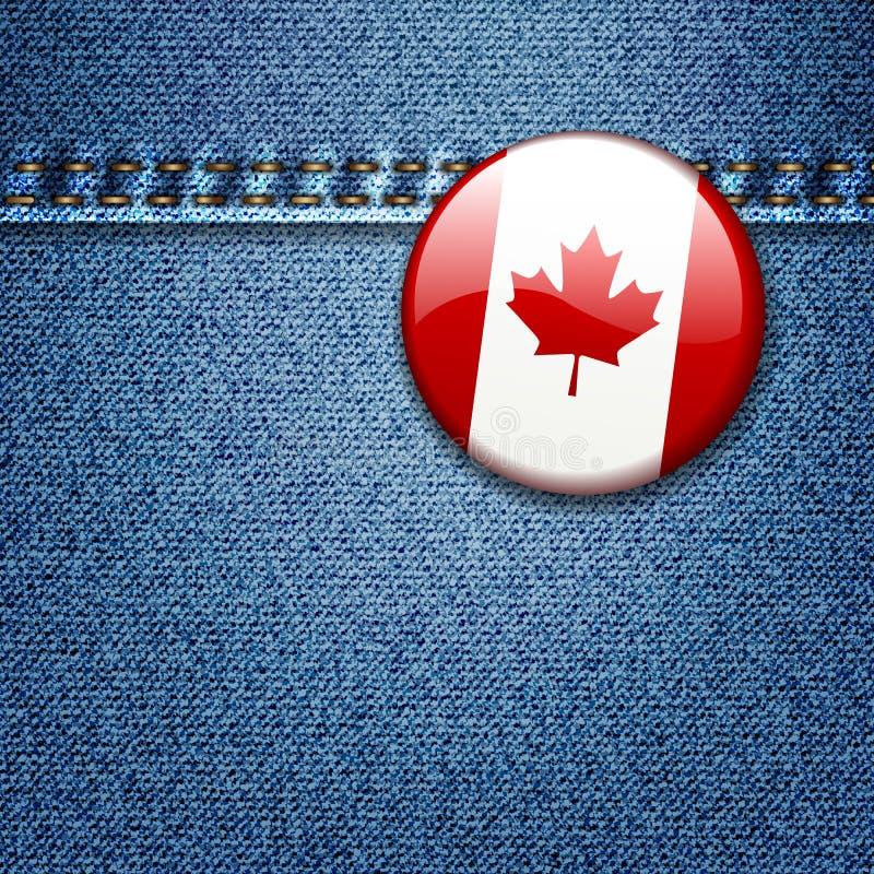 Emblema canadense da bandeira na textura da tela da sarja de Nimes ilustração stock