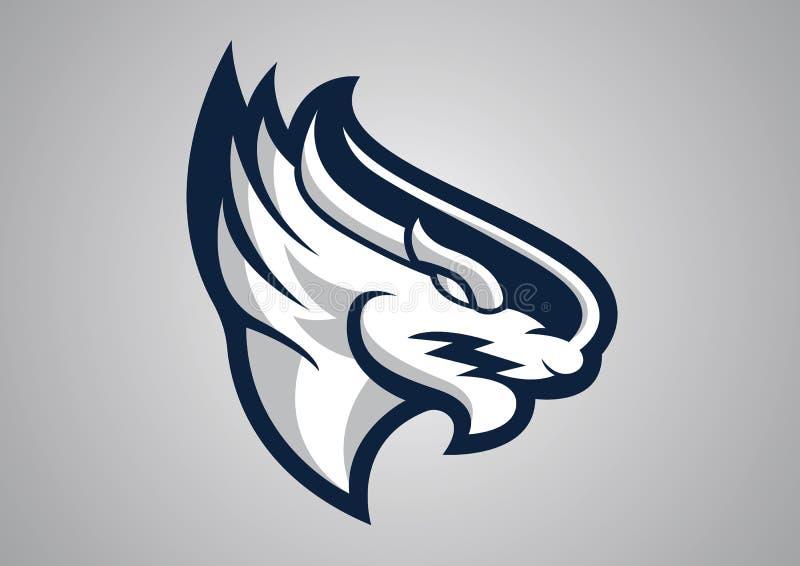 Emblema capo di vettore di logo del logofootball del drago fotografie stock libere da diritti
