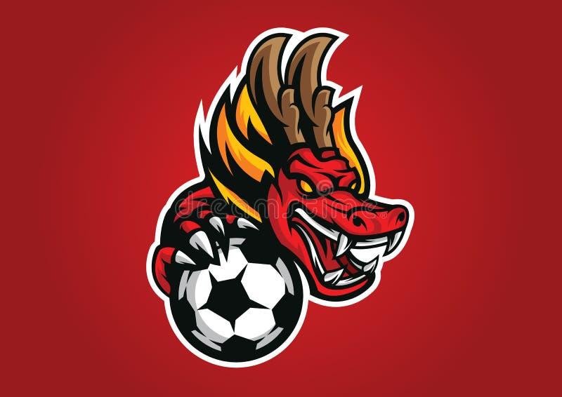 Emblema capo di vettore di logo del logofootball del drago fotografia stock libera da diritti