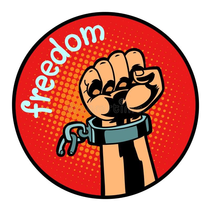 Emblema a catena lacerato del cerchio di simbolo dell'icona della mano di libertà royalty illustrazione gratis