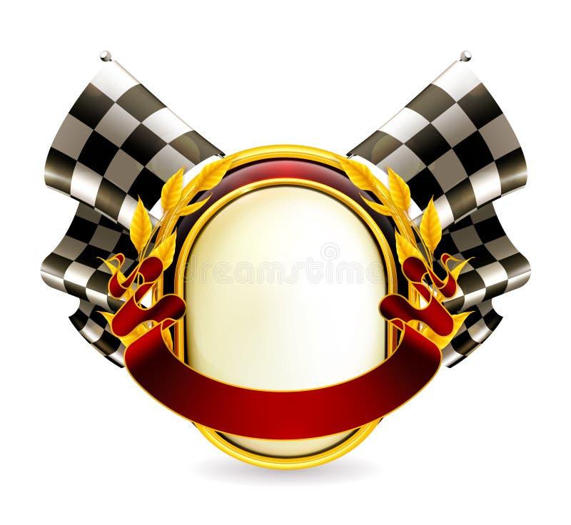 Emblema checkered della bandierina illustrazione di stock