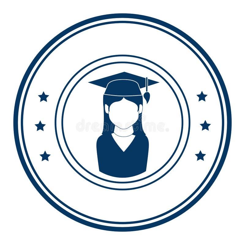 Emblema circolare con la donna con l'attrezzatura di graduazione illustrazione di stock