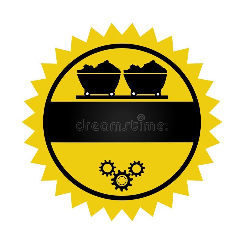 Emblema circular con el carro de la explotación minera sobre el carril y las ruedas de engranajes libre illustration
