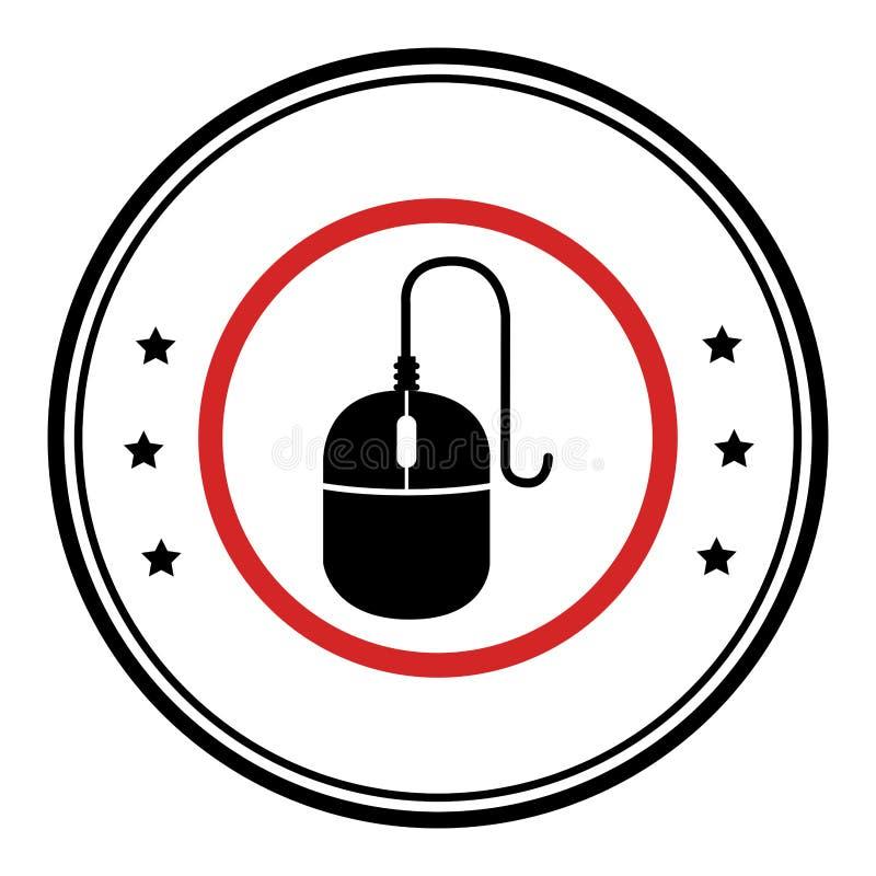 Emblema circular monocromático com ícone do rato ilustração royalty free