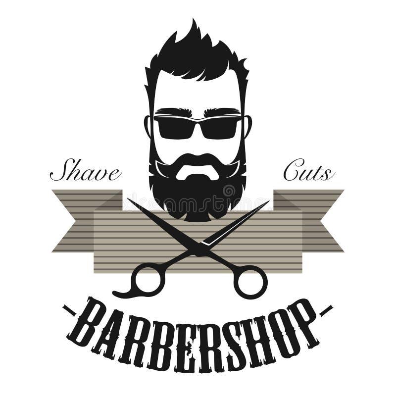Emblema clásico de la insignia de la etiqueta del vintage de la peluquería de caballeros Ejemplo antiguo del vector del logotipo  stock de ilustración