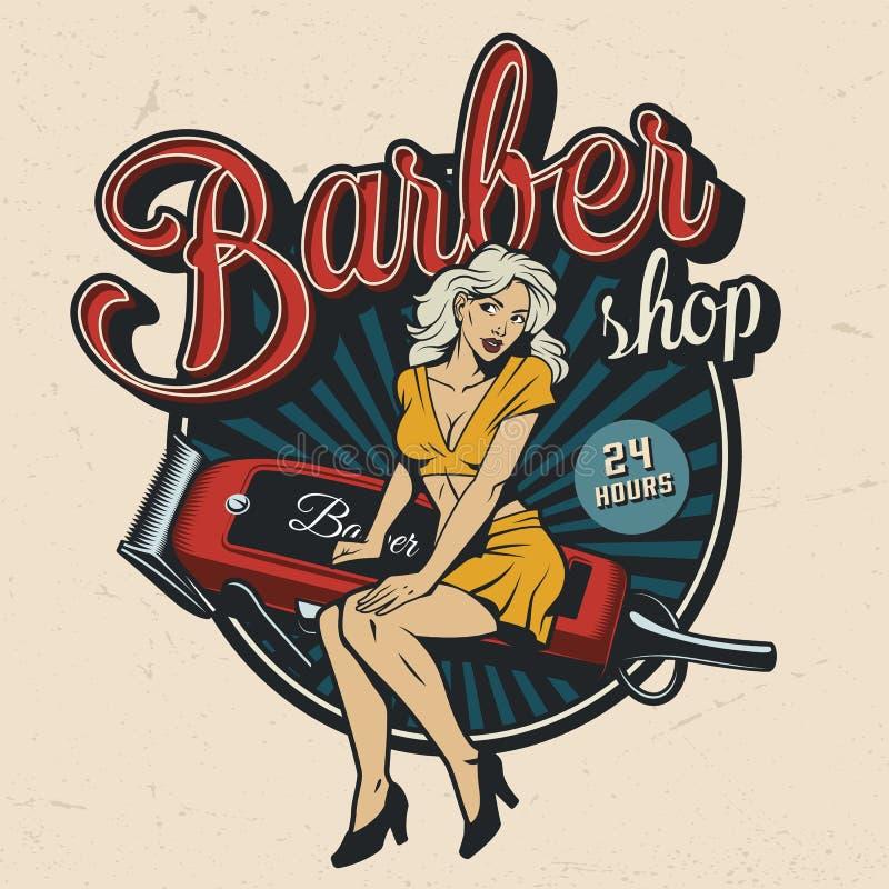 Emblema colorido de la barbería del vintage libre illustration