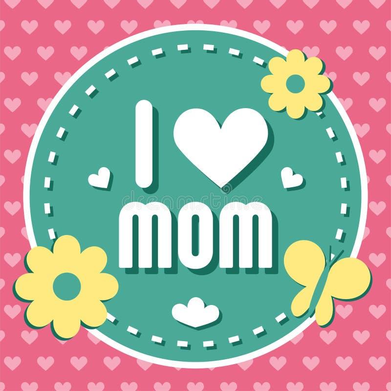 Emblema colorido de la mamá del amor de I Elementos del diseño del vector para la tarjeta y otra de felicitación plantillas de la stock de ilustración