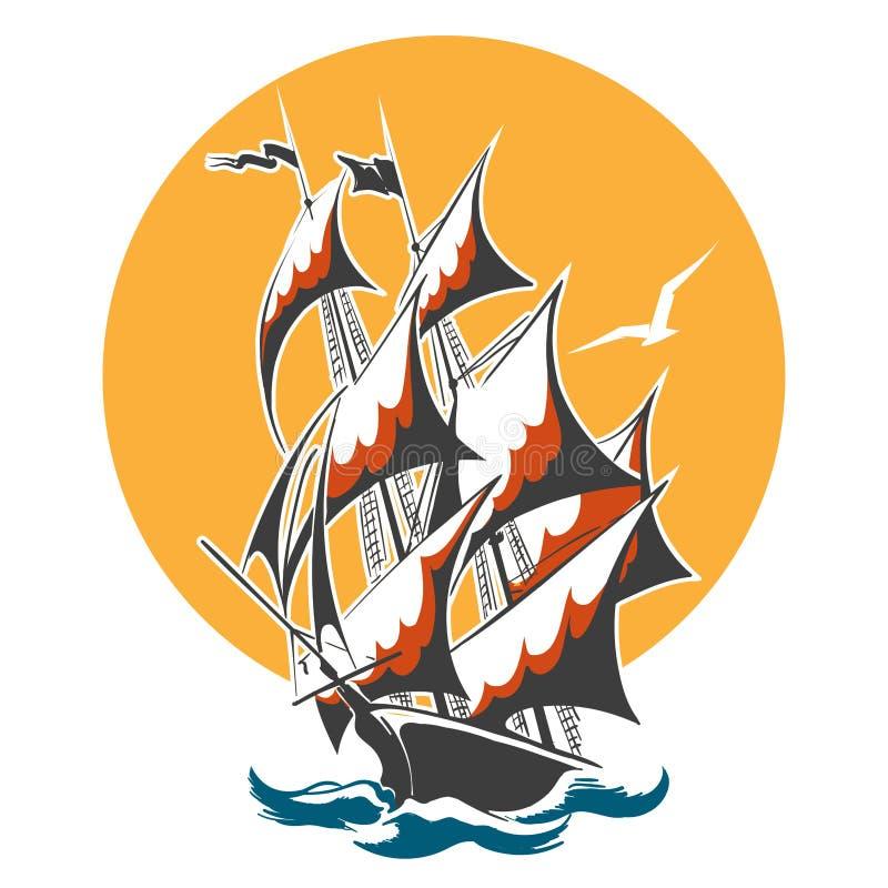 Emblema colorido do navio da vela ilustração royalty free