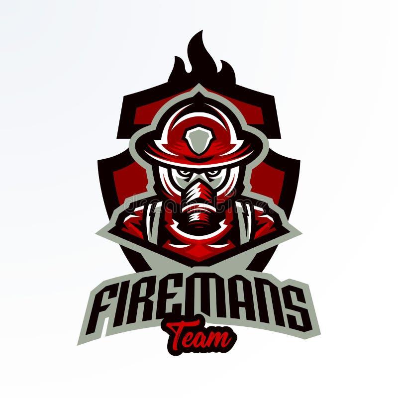 Emblema colorido, etiqueta engomada, insignia, logotipo de un bombero en una careta antigás Unidad de rescate, equipo protector,  libre illustration